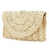 Monedero de Embrague de Paja Bolsos de Paja Mujer, JOSEKO Envelope Clutch Mujer Fiesta Bolso Mimbre Bolsa de Playa de Verano Bolso de Mano de Mujer Bolso de la Tarde de Las Boda del para la Muchacha