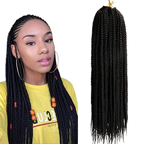(6 Packs,45.7cm) Flechten JumboZopf Kanekalon kunsthaar schwarz Haarteil Zopf Haarverlängerung Echthaar 3X Crochet Braids Hair Extensions 20 Strands/pack