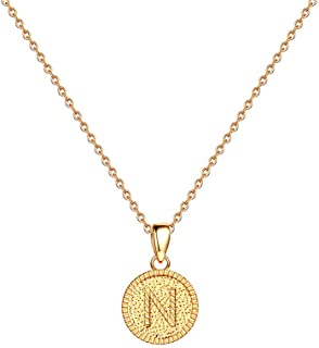 Letter Initial Necklaces for Women - 14K Gold Filled Handmade Disc Initial Necklaces Dainty Round Disk Wafer Pendant Alphabet Monogram Necklace Jewelry Birthday Gift Idea for Women Teen Girls