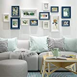 ZXYY European Style Collage Photo Wall For Wall White Blue Solid Wood Picture Frame Set Creative Multi Picture Photo Frames Photo Frame Gallery Set For Living Room Restaurant BedroomBlue and white