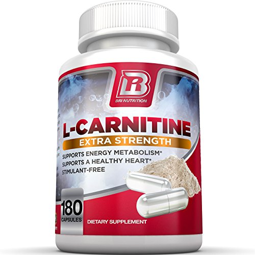 BRI L-Carnitine - 1000mg Premium Quality Carnitine Amino Acid Supports Athletic Performance, Stamina and Heart Health; Stimulant Free Vegetable Cellulose Capsules (180 Count)