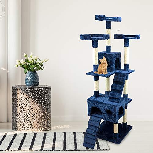 Tiragraffi Gatto albero 170Cm con Cuccia per Gatti Albero Parco giochi gioco tira graffi per Gatto colore Blu - AQPET