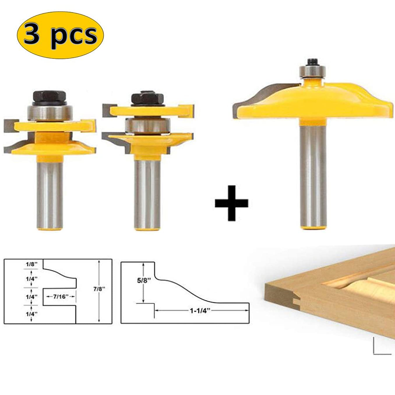 LETBE 3 PCS Router Bit Set, 1/2-Inch Shank Round Over Raised Panel Cabinet Door Ogee Rail and Stile Router Bits, Woodworking Wood Cutter, Wood Carbide Groove Tongue Milling Tool (1/2,HXRD-1224A)