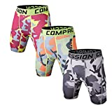 Holure Men's 3 Pack Sport Camo Compression Shorts Mens Underwear Spandex Shorts Workout Running,red,Green,Gray,Camo,M