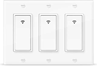 Smart Switch, WiFi Wall Light Switch 3 Gang that Work with Alexa Google Home and IFTTT, Timer and Remote Control, Neutral Wire Required, White