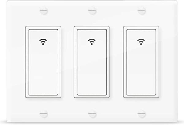 Smart Light Switch Vaticas 100 240V Smart WIFI Light Switch Compatible With Alexa Google Home And IFTTT With Remote Control And Timer No Hub Required Applicable To Family And Office 3 Gang White