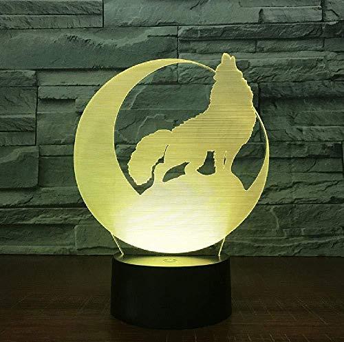 3D Illusion 7 Color Touch Wolf Bank Wall 7 colores que cambian la lámpara de escritorio táctil para niños cumpleaños regalos de Navidad