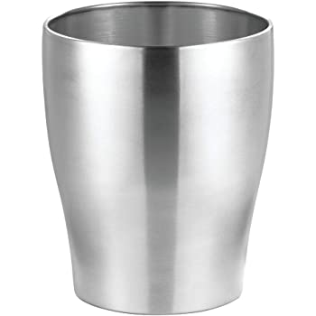 mDesign Modern Round Metal Small Trash Can Wastebasket, Garbage Container Bin for Storing and Holding Waste in Bathroom, Kitchen, Home Office, Craft Room, Laundry Room - Solid Steel - Stainless Steel