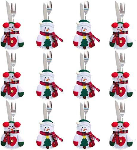 Shalwinn Bolsa para Cubiertos Navidad 12pcs Bolsita para Cubiertos de Navidad para Decoración Navidad, para Sostener Tenedor y Cuchara (Monigote de Nieve)