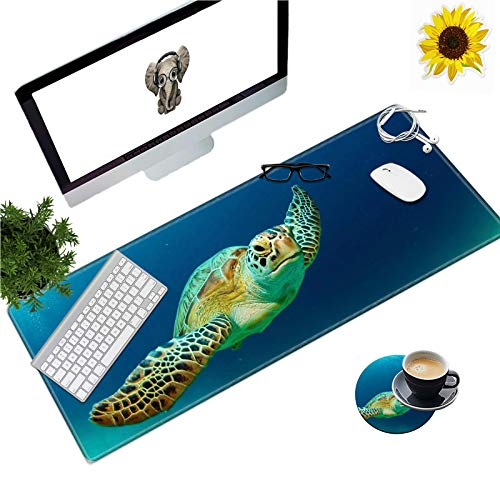 Extended Gaming Mouse Pad with Stitched Edges, Long XXL Mousepad (31.5x11.8) Desk Pad Keyboard Mat Non-Slip Water-Resistant for Work/Gaming/Office/Home, Lovely Turtles + Coasters and Stickers