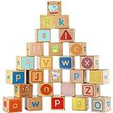 TOPCOMWW Juegos de construcción de Bloques ABC de Madera extragrandes 26 Piezas Letras del Alfabeto Juego de Bloques Montessori Juguetes educativos para niños pequeños