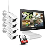 ANNKE 4CH 1080P FHD WiFi Wireless CCTV Camera System with 10.1'' LCD Monitor, Support 5MP Wireless IP Camera, Audio Recording, IR Night Vision, Plug & Play, Remote Access,1TB HDD