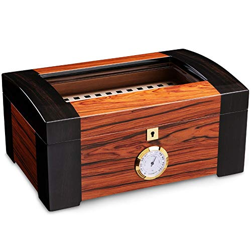 sigarenbox, cederhout, sigarenbevochtiger, helder glas, grote verdeling voor temperatuur en luchtvochtigheid van de luchtbevochtiger, ingebouwde luchtbevochtiger en de