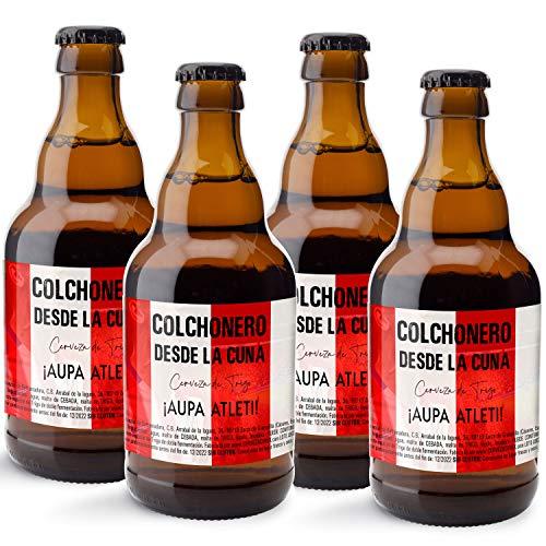 CEREX pack 4 cervezas artesanales FUTBOL ATLETICO MADRID colchonero cerveza especial trigo doble fermentacion cerveza alemana