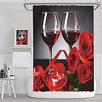 赤いバラ 防水 シャワーカーテン,防水 バレンタインデー.お風呂用カーテン,ポリエステル プリント バスルーム カーテン,速乾 フック付き 防カビ バスカーテン-ワイングラスのバラ 150x180cm(59x72inch)