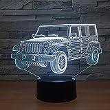 3D Led Auto Nachtlicht Farbverlauf Jeep Form Usb Nachttisch Schlafzimmer 3D Tischlampe Usb Indoor...