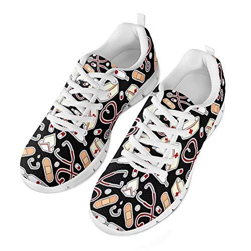 chaqlin Infermiera Appartamenti Scarpe Nero Donna Moda Scarpe da Allattamento Confortevoli Sneakers in Rete Ragazzi Ragazze Adolescenti Luce Camminate Maglie da Jogging EU36