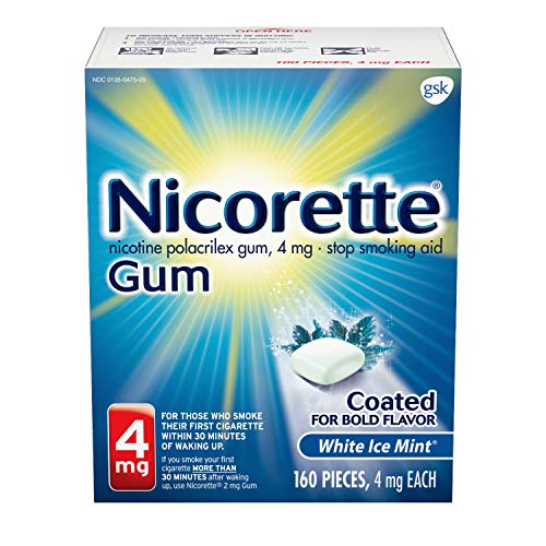 Nicorette 4mg Nicotine Gum to Quit Smoking, White ice Mint, 160 Count (Pack of 1)