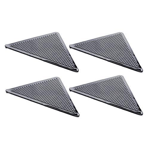 SUNKAK 4Pcs Dreieck Wiederverwendbare Anti-Rutsch-Gummi-Matte Nicht Beleg-Patch-Mat Waschbar Teppich Greifer Stopper Band-Aufkleber Schwarzen Corners Pad (Color : A)