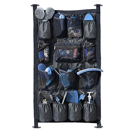 Harrison Howard Equine - Organizador para puerta de remolque largo 1680D de tela duradera con 14 bolsillos para remolque de caballo, organizador de la puerta del maletero, color negro