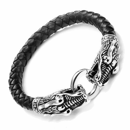 Funda de Piel Pulsera para Hombre de Acero Inoxidable Dragon Head con Cierre, Negro Plateado 21,5 cm