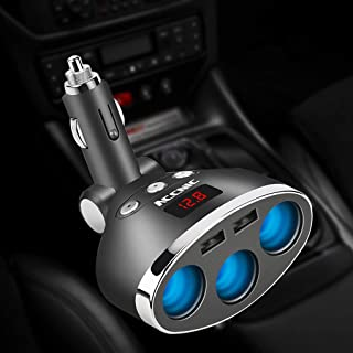 3 in 1 Dual USB Car Cigarette Lighter Socket Splitter Plug 3 Cigarette Lighter Car USB Voltage Monitor for iPhone Samsung