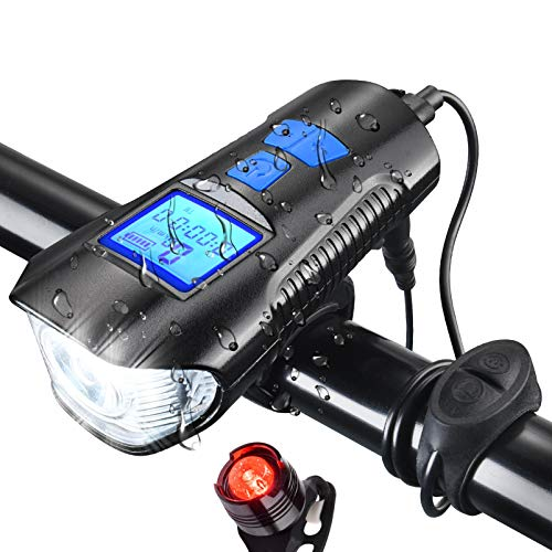 AOPOY LED Bicycle Light Set, USB Rechargeable Bike Light Set with Free Tail Light, Bicycle Speedometer Odometer for Bike, 1500 mAh Power Bank, 800LM, Mountain Bike Lights for Night Riding