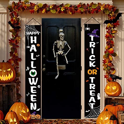 Halloween Door Porch Decor Halloween Door Banner Decorations Trick or Treat & Happy Halloween Sign Hanging Signs for Front Door...