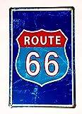 MR Placas Decorativas Vintage metalicas. Ruta 66 Azul Carteles Pared Garaje Route Retro