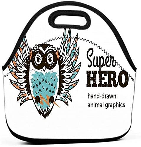 Bolsas de almuerzo impermeables aisladas para el trabajo, con aislamiento Cool Owl disfraz de superhroe personaje animal blanco nios dibujos animados pequeos superhroes dibujados a mano