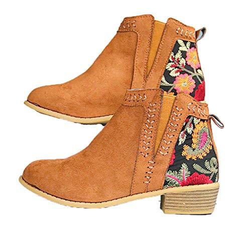WggWy Botines de mujer, de invierno, retro, bordados, elásticos, retro, con tacón bajo, para mujer, otoño, talla 35