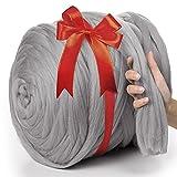 MeriWoolArt 100% XXL Merino Wolle Garn 4-5cm Dicke Wolle Garn, Filzwolle Trockenfilzen Nassfilzen, DIY Wolle Garn Decke, Decke Baby Wolle, Arm Stricken Decke Garn Hellgrau , 4.5Kg