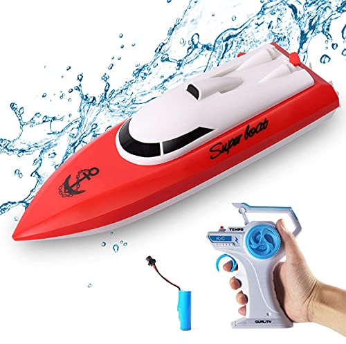 tonason RC Boat, 12KM/H Remote Control Boat for Pools and Lakes,2.4 GHz Speed Boat Toys Outdoor Adventure Electric Racing Boat