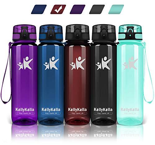 KollyKolla Trinkflasche - BPA-frei Auslaufsicher Sport Wasserflasche, 800ml Tritan Sportflasche Kohlensäure Geeignet Kunststoff mit Filter für Kinder, Schule, Baby, Fahrrad, Gym, Glossy Dunkelrot