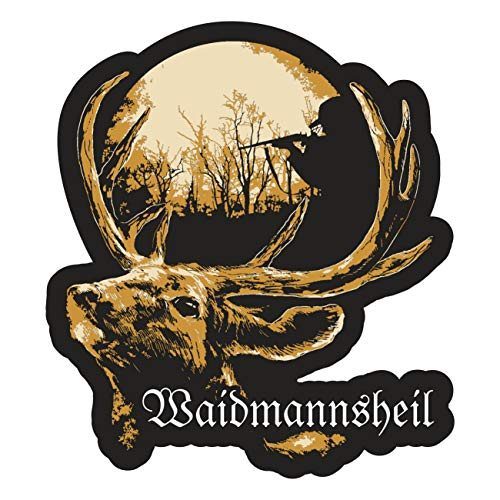 Wetterfester Aufkleber Waidmannsheil 11 cm oder 40 cm jäger Hirsch Wild Jagd