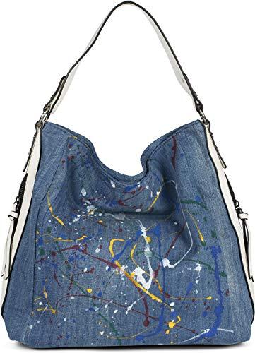 styleBREAKER Damen Hobo Bag Handtasche aus Jeansstoff mit buntem Farbspritzer Muster, Shopper, Schultertasche, Tasche 02012350, Farbe:Blau-Weiß