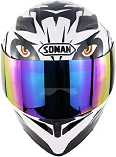 Compact Lightweight Open Face Motorcycle with Dual Colorful Visors Lens, Modular DOT Approved Moto Helmet for Racing Car Locomotive Unisex-Adult,M