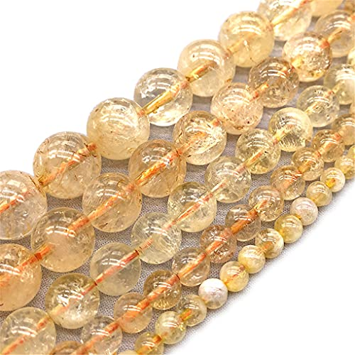 Citrino natural de cristal amarillo redondo cuentas de piedra suelta para hacer joyas DIY pulsera collar 4/6/8/10/12 mm 15 pulgadas amarillo 10mm aprox 38beads