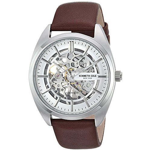 Kenneth Cole New York Male Stainless Steel Automatic-self-Wind Watch with Brown Strap, Leather, 22 (Model: KC50064002)