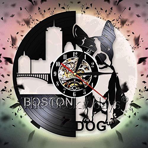 hxjie Boston Terrier Wanduhr niedlichen Welpen Schatten Vinyl Rekord Wanduhr 3D Wanduhr Kindergarten Design Wanddekoration
