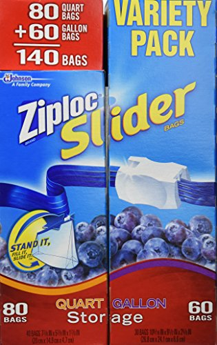 Best Prices! Ziploc Easy Zipper Variety Pack - 140 Bags(including 80 Quart Size Bags & 60 Gallon Siz...