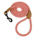 Mile High Life Leather Tailor Reinforce Handle Mountain Climbing Dog Rope Leash with Heavy Duty Metal Sturdy Clasp (Red Khaki1, 6 FT)