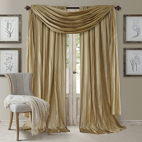 """Elrene Home Fashions Venice Curtain Panels with Scarf Valance - Set of 3 - Panel 52"""" W x 108"""" L, Scarf 52"""" W x 216"""" L, Gold (2 panels - 1 scarf)"""