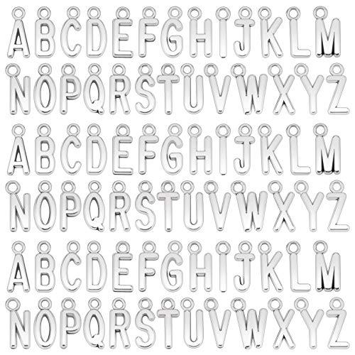 SAVITA 104 Pezzi ABC Lettera Charms Mini Lettere Maiuscole Alfabeto A-Z Bracciale in Lega di Zinco Collana Pendenti per Gioielli Fai Da Te