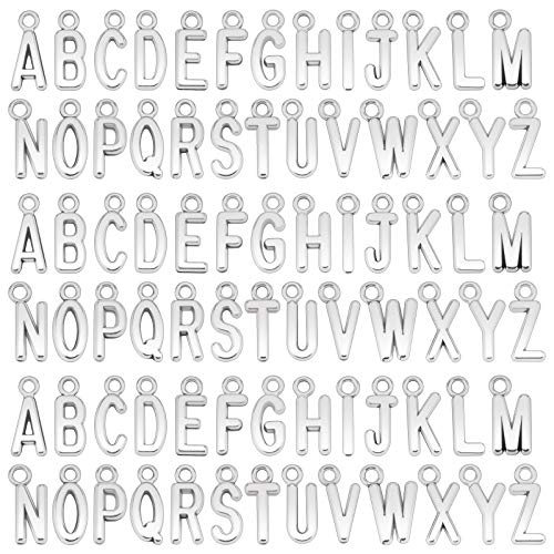 SAVITA 104Pcs/4 Sets ABC Letter Charms Mini Uppercase Alphabet A-Z Zinc Alloy Bracelet Necklace Pendants for DIY Jewelry Making