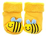 BONAMART  Newborn Baby Mädchen Jungen Dicke Socken 3D Cartoon, Gelbe Biene S, 0-1-2 Monate