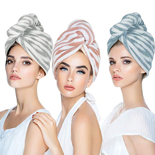Duomishu 3 Pack Microfiber Hair Towel Wrap Turban for Women, Super Absorbent Quick Dry Bath Shower Dry Head Turban with Buttons, Dry Hair Hat, Bath Hair Cap, Fast Drying & Never Falls Off