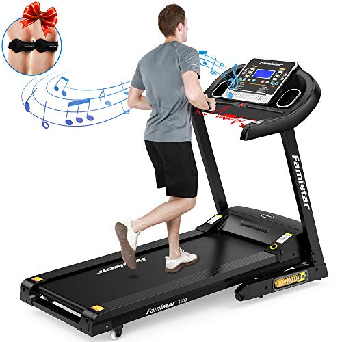 Famistar 3.5HP Folding Treadmill, 15% Auto Incline 300LBS Weight-Capacity Running Machine...