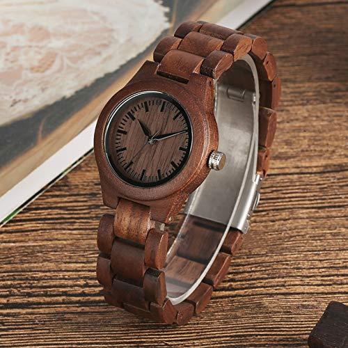 UIOXAIE Reloj de Madera Reloj de Madera de Nogal Retro con Esfera Pura Simple, Reloj de Mujer con Horas, Relojes de Pulsera de Madera Ajustables Enteros para Mujer