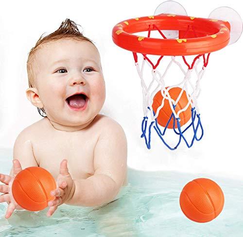 Addmos Baby Badespielzeug, Badewannenspielzeug für 1 2 3 4 5 Jahre alte Jungen Mädchen, Badewannen Bälle Basketballkorb für Kinder, Basketball Set 3-Ball